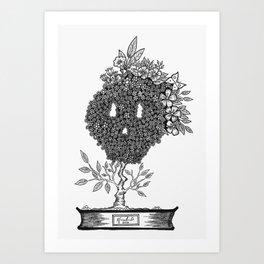 Flowerd bonzai skull Art Print