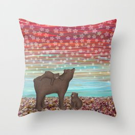 brown bears and stars Throw Pillow