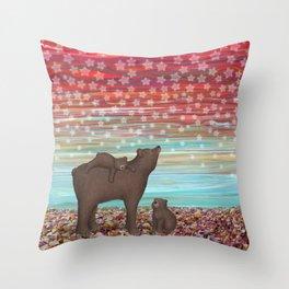brown bears and stars Throw Pillow
