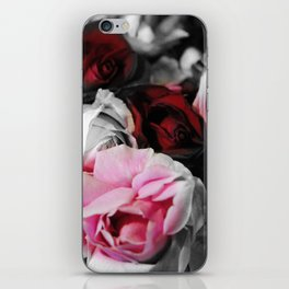 Black and White Roses Fade to Pink and Red iPhone Skin