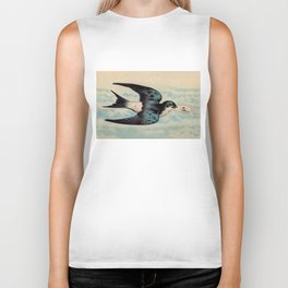 Blue Swallow with Love Letter Biker Tank