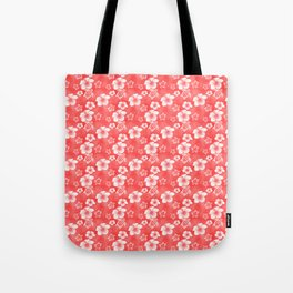 Red Hibiscus Honu Hawaiian Pattern Tote Bag