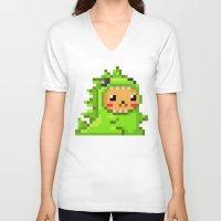 8bit V-neck T-shirts featuring 8bit Dinobear by Bear Picnic