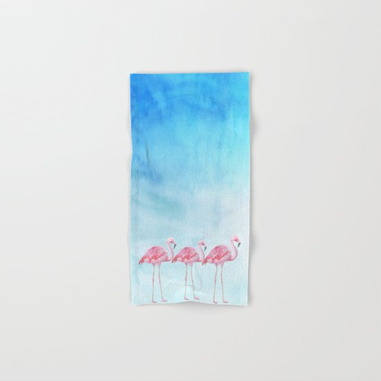 Flamingo bird summer lagune - watercolor illustration Hand & Bath Towel