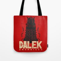 dalek Tote Bags featuring Dalek Unchained by Moysche Designs