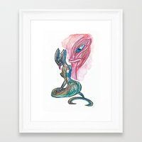 tyrion Framed Art Prints featuring Sea Taniwha by Ariel Ni-Wei Huang