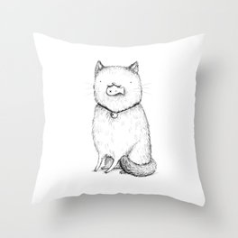 Kitty With Fish Cracker Throw Pillow