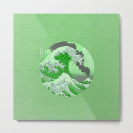 The Great Wave Off Kanagawa Mount Fuji Eruption-Green Metal Print