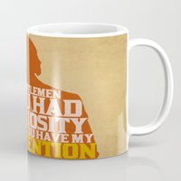 calvin and hobbes Mugs featuring Django Unchained - Calvin Candie: Now You Have My Attention by Jon Naylor