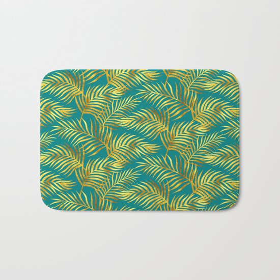 Palm Leaves_Gold And Teal Bath Mat By Mia Valdez