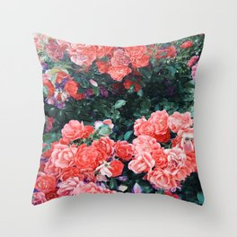 Psychedelic summer florals Throw Pillow