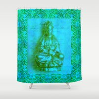 budi satria kwan Shower Curtains featuring Jade Kwan Yin by Jan4insight