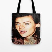 harry styles Tote Bags featuring Harry Styles by CelebrityMerch