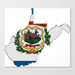 West Virginia Map with State Flag Canvas Print