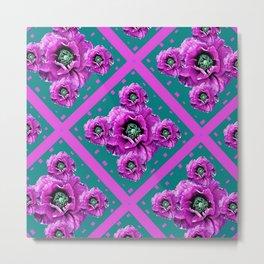Amethyst Purple Poppies & Teal Floral Design Metal Print