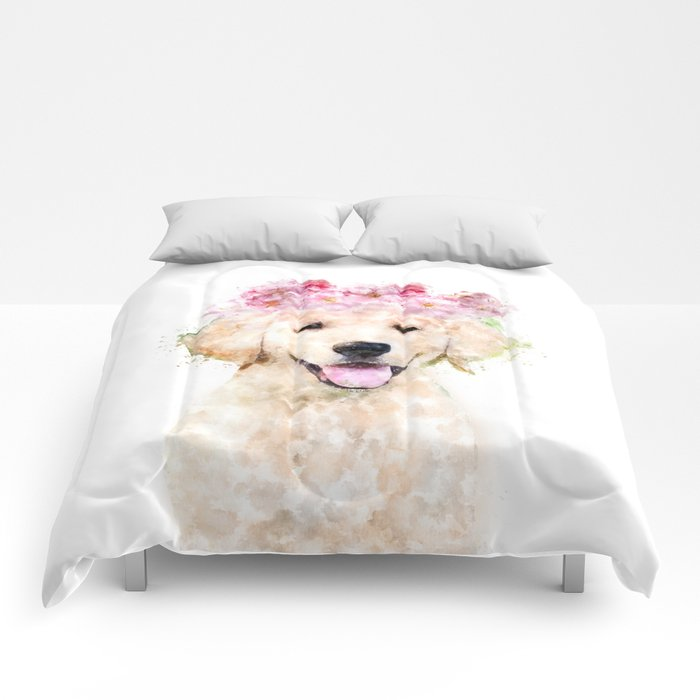 Watercolor Labrador With Flowers Hy