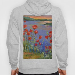 Poppies by the river Hoody