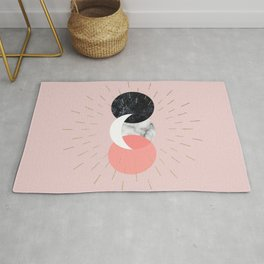 Moon and Sun on Pink and Marble Geometry #abstractart Rug