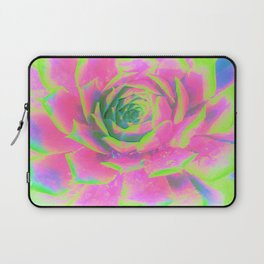Lime Green and Pink Succulent Sedum Macro Laptop Sleeve
