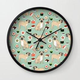 Pug sushi pattern dog breed cute pet art pet friendly gifts pugs Wall Clock