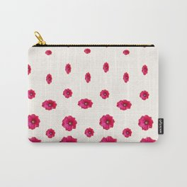 WHITE DOUBLE CERISE HOLLYHOCK FLOWERS GARDEN Carry-All Pouch