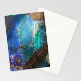 Turquoise geode opal iridescent holographic druse crystal quartz agate gem gemstone mineral stone Stationery Cards