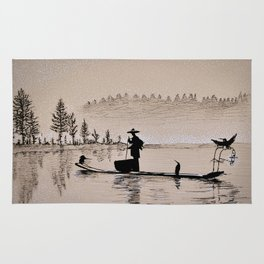 Sunrise Bird Fishing Rug