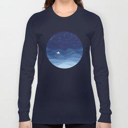 blue ocean waves, sailboat ocean stars Long Sleeve T-shirt