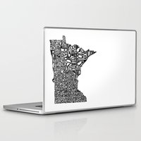 minnesota Laptop & iPad Skins featuring Typographic Minnesota by CAPow!