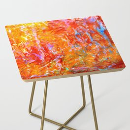 Abstract with Circle in Gold, Red, and Blue Side Table