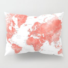 Living coral watercolor world map with cities Pillow Sham