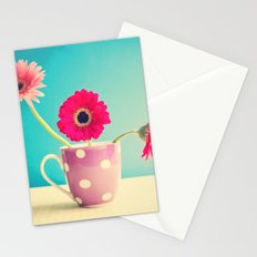 Pink Flowers Gerbers on Blue  Stationery Cards