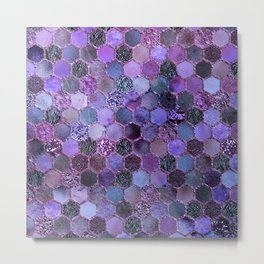 Purple geometric hexagonal elegant & luxury pattern Metal Print