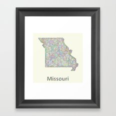 Missouri map Framed Art Print