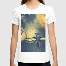 Golden Blue Hummingbird by CheyAnne Sexton T-shirt