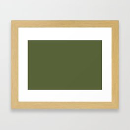 Dark Olive Green Solid Color Pairs To Sherwin Williams Inverness SW 6433 Framed Art Print