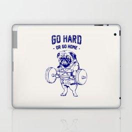 Go Hard Or Go Home Pug In Blue Laptop & iPad Skin