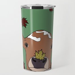 Bessie the Calf and Fall Leaves Travel Mug