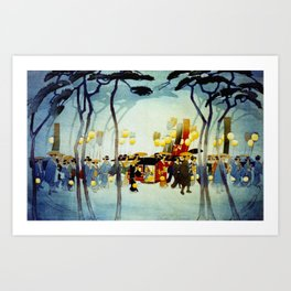 Japanese Covered Litter and Lanterns Art Print