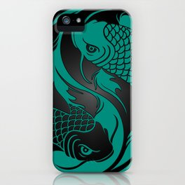 Teal Blue and Black Yin Yang Koi Fish iPhone Case