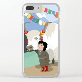 A child and his best friend Clear iPhone Case