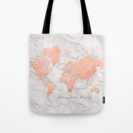 "Adventure awaits world map in rose gold and marble, ""Janine"" Tote Bag"