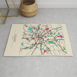 Colorful City Maps: Cologne, Germany Rug