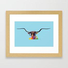 Hipster Longhorn Framed Art Print