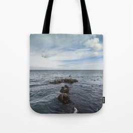 Irish bay and flying seagulls Tote Bag