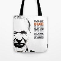 bukowski Tote Bags featuring beer&bukowski by radiozimbra