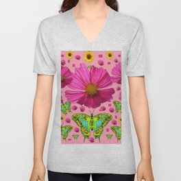 PINK COSMO FLORALS GREEN MOTHS SUNFLOWERS Unisex V-Neck