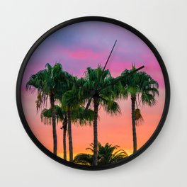 Sunset tropical vibes Wall Clock