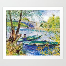 Vincent van Gogh Fisherman and Boats from the Pont de Clichy Art Print