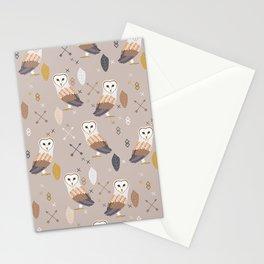 Barn Owls Tribal Pattern Stationery Cards